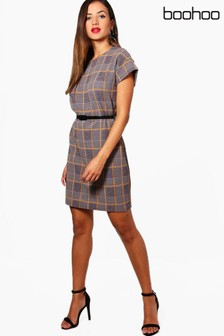 Boohoo Belted Check Shift Dress