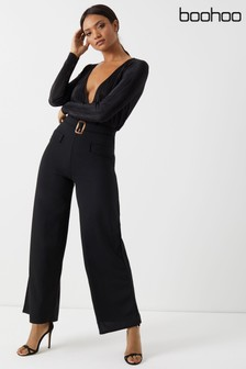 Boohoo Pocket Front Wide Leg Trousers