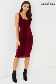 Boohoo Velvet Burnout Bodycon Dress