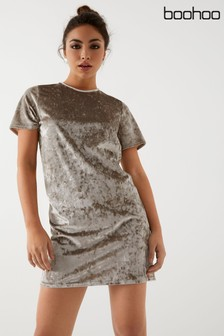 Boohoo Crushed Velvet T-Shirt Dress