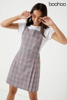 Boohoo Front Check Pinafore Dress