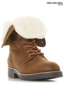 Head Over Heels Fur Lace-Up Hiker Boots