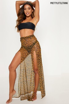 PrettyLittleThing Cheetah Print Mesh Beach Skirt