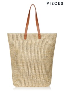 Pieces Straw Shopper Bag