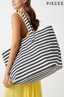 Pieces Striped Beach Bag