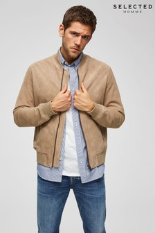 Selected Homme Suede Bomber Jacket With Ribbed Cuffs
