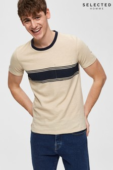 Selected Homme Knitted Chest Stripe Detail T-Shirt
