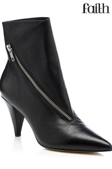 Faith Leather Asymmetric Zip Detail Ankle Boots