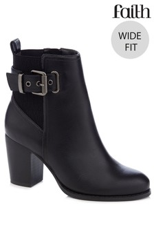 Faith Wide Fit Buckle Boot With Stacked Heel