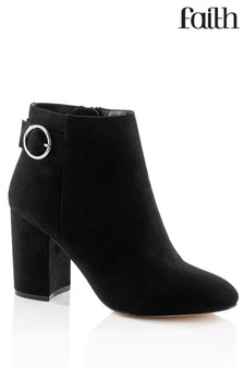 Faith Block Heel Buckle Detail Ankle Boots