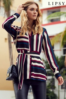 Lipsy Strip Long Line Shirt