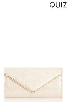 Quiz Shimmer Faux Leather Envelope Bag