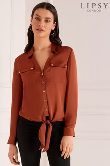 Lipsy Utility Tie Front Top