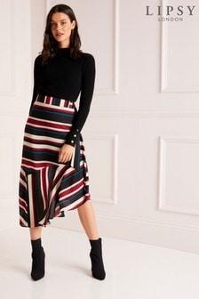 Lipsy Stripe Asymmetric Midi Skirt