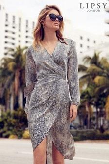 Lipsy Spot Wrap Midi Dress