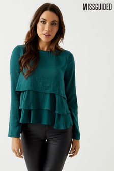 Missguided Tiered Long Sleeve Satin Blouse