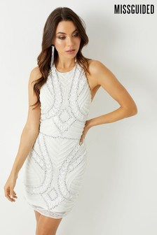 Missguided Halter Neck Embellished Mini Dress