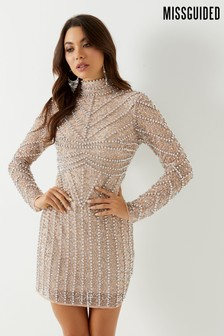 Missguided High Neck Beaded Mini Dress