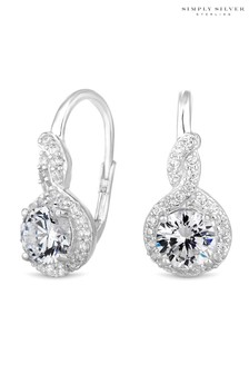 Simply Silver Sterling Silver Cubic Zirconia Halo Twist Hook Earring