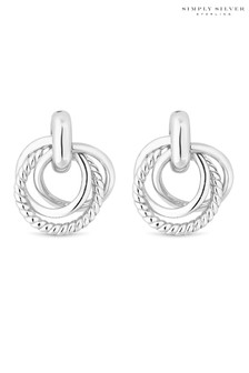 Simply Silver Triple Ring Stud Earrings
