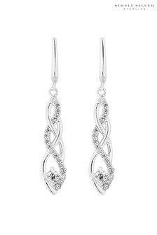 Simply Silver Sterling Silver Cubic Zirconia Intertwined Drop Earring
