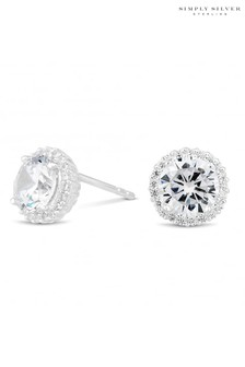 Simply Silver Sterling Silver Cubic Zirconia Pave Surround Stud Earring