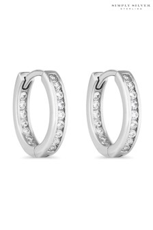 Simply Silver Sterling Silver Channel Set Hoop