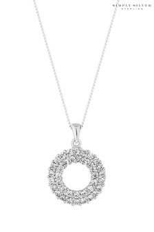 Simply Silver Cubic Zirconia Pave Circle Pendant Necklace