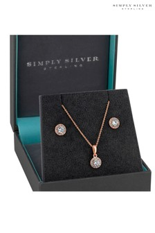 Simply Silver 14ct Rose Gold Plated Sterling Silver Round Halo Jewellery Set  In A Gift Box