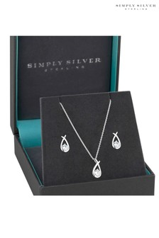 Simply Silver Cubic Zirconia Knot Jewellery Set In A Gift Box