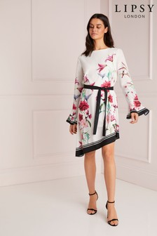 Lipsy Printed Tie Front Shift Dress