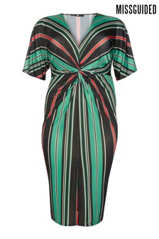 Missguided Curve Striped Slinky Midi Dress
