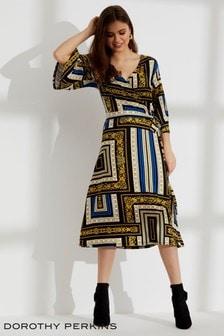 Dorothy Perkins Printed Wrap Midi Dress