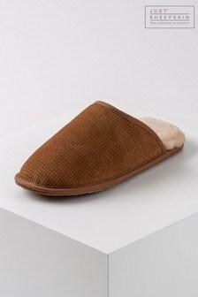Just Sheepskin Nelson Basket Weave Sheepskin Slipper
