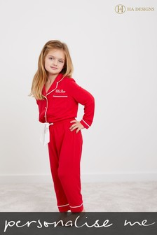 Personalised Mini Girls Long Sleeve Pyjama Set by HA Design