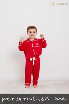 Personalised Mini Boys Long Sleeve Pyjama Set by HA Design