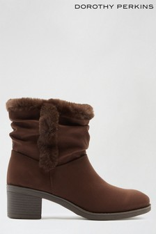 Dorothy Perkins Madrid Faux Fur Lined Ruched Ankle Boot