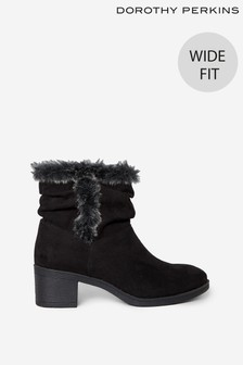 Dorothy Perkins Wide Fit Madrid Faux Fur Lined Ruched Ankle Boot