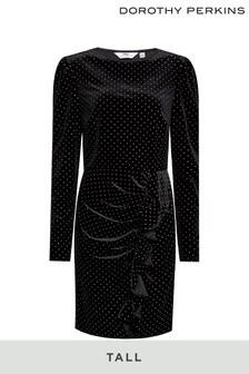 Dorothy Perkins Tall Velvet Spot Mini  Dress