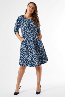 Dorothy Perkins Curve Long Sleeve Ditsy Print Fit And Flare Dress