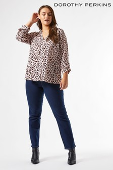 Dorothy Perkins Curve Animal Roll Sleeve Shirt