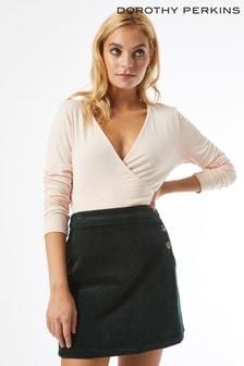 Dorothy Perkins Petite Emerald Wrap Cord Button Skirt