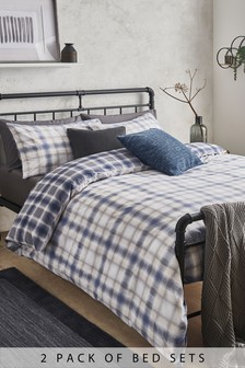 2 Pack Cotton Rich Salvage Ombre Check Duvet Cover And Pillowcase Set