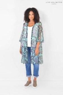 Live Unlimited Curve Mint Paisley Longline Kimono