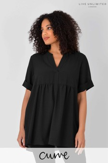 Live Unlimited Curve Black Gingham Tunic