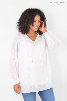 Live Unlimited Curve Ivory Star Jacquard Top with Cami