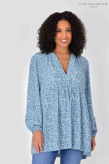 Live Unlimited Curve Sustainable Viscose Blue Ditsy Top
