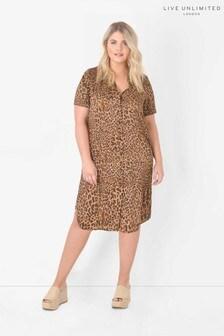 Live Unlimited Curve Animal Print Shirt Dress