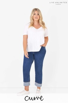 Live Unlimited Blue Curve Stone Wash Boyfriend Jeans