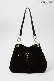 River Island Black Tassel Trim Taylor Bag
